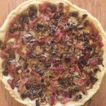 Mushroom, bacon and onion tart finished