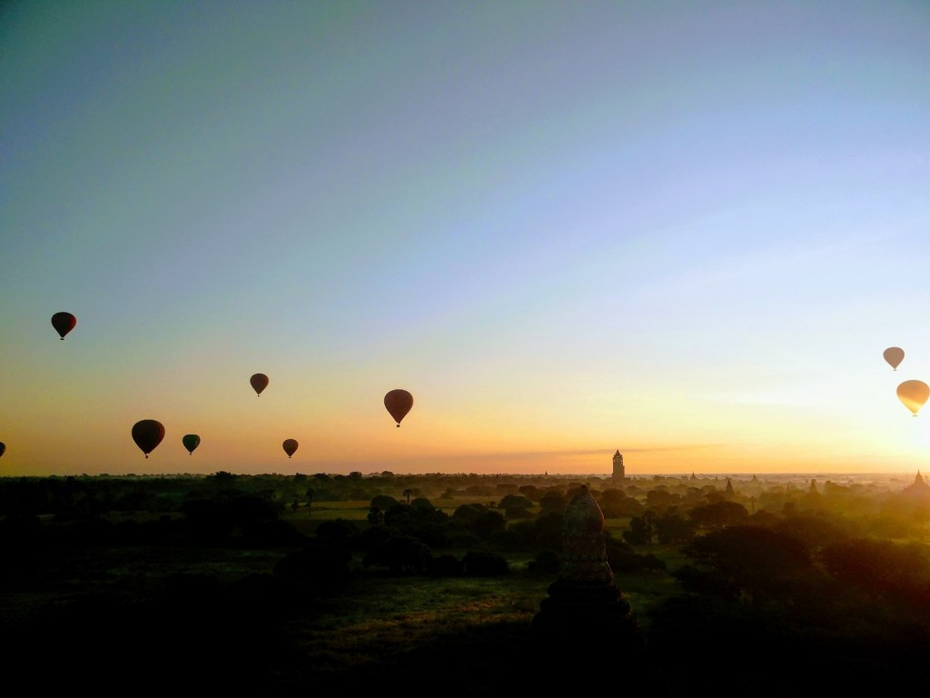 Sunset and hot air balloons