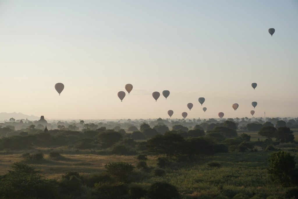 The first morning Bagan hot air balloons