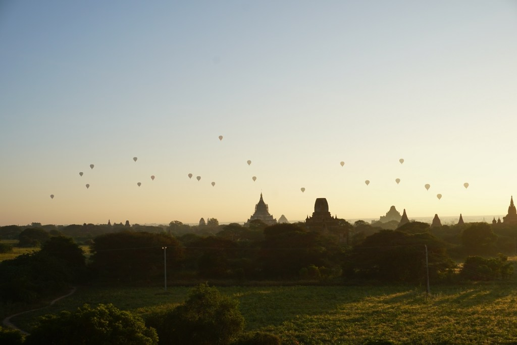 The hot air balloons from afar Bagan