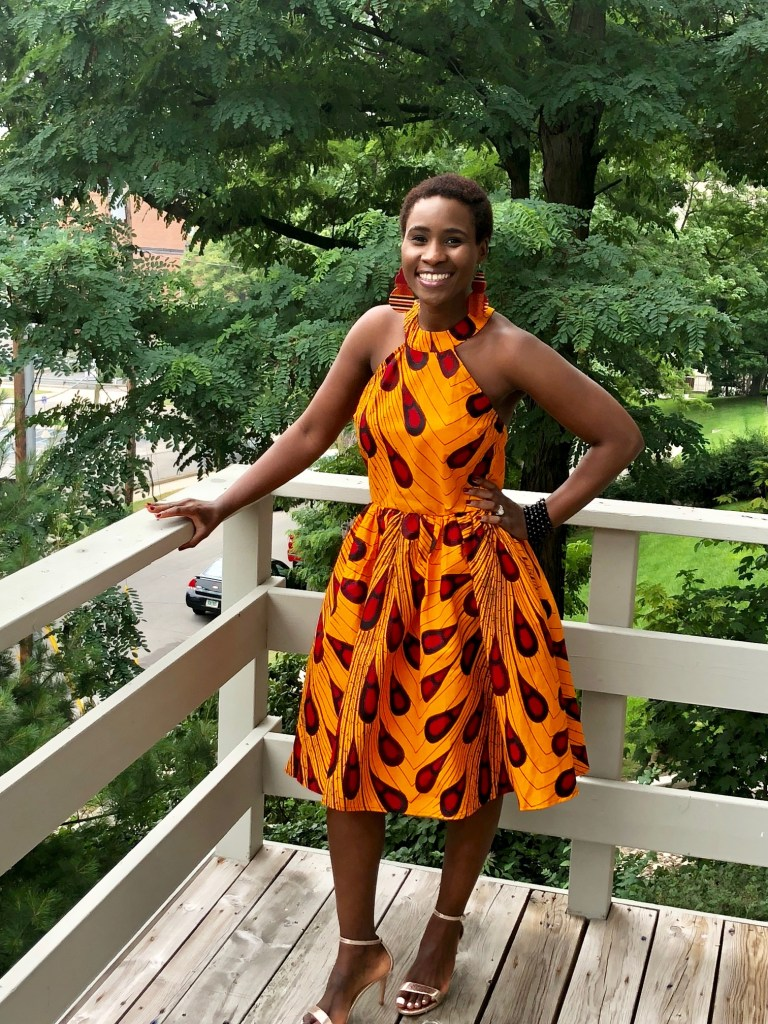 African orange print midi dress