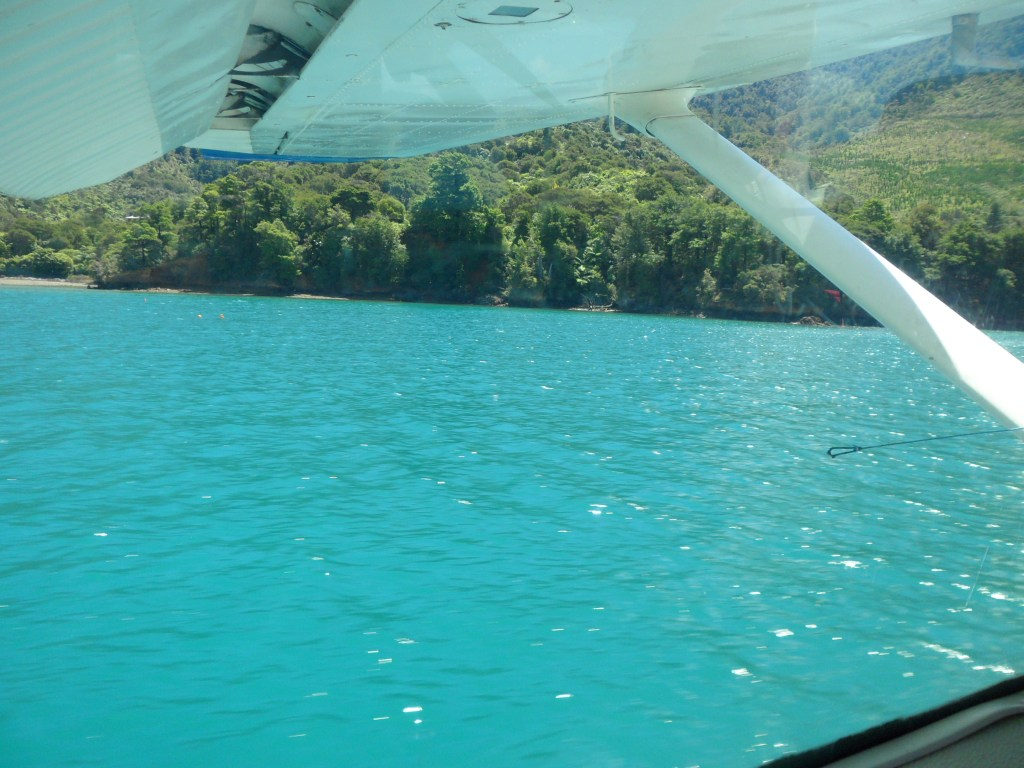 The aqua coloured water as we landed
