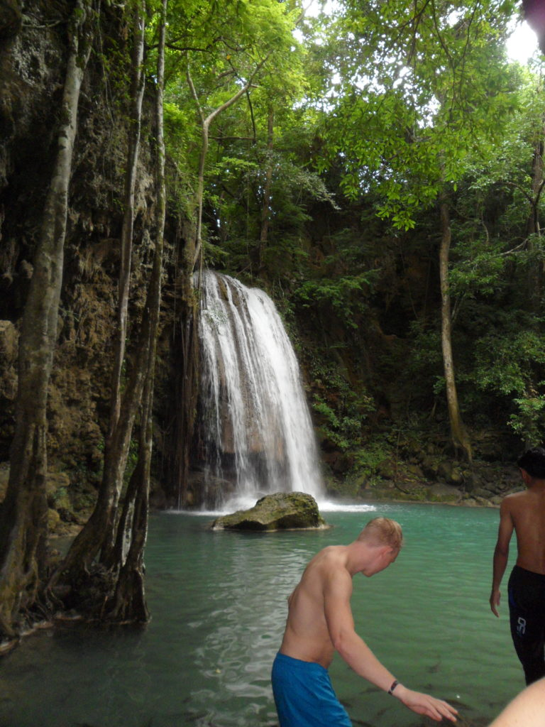 A tropical paradise. I couldn't resist to get in for a swim under this stunning waterfall!