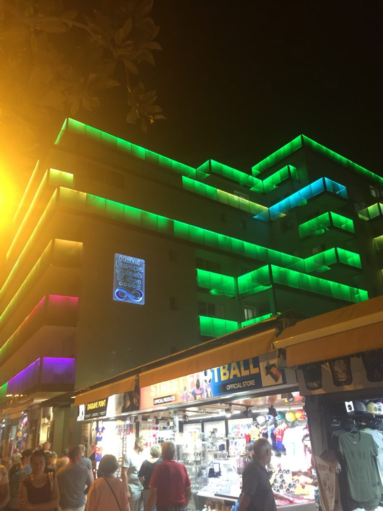 The Europa Splash hotel, Malgrat de Mar lit up in LED lighting at night