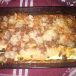 Zucchini lasagne with parmesan in a dish