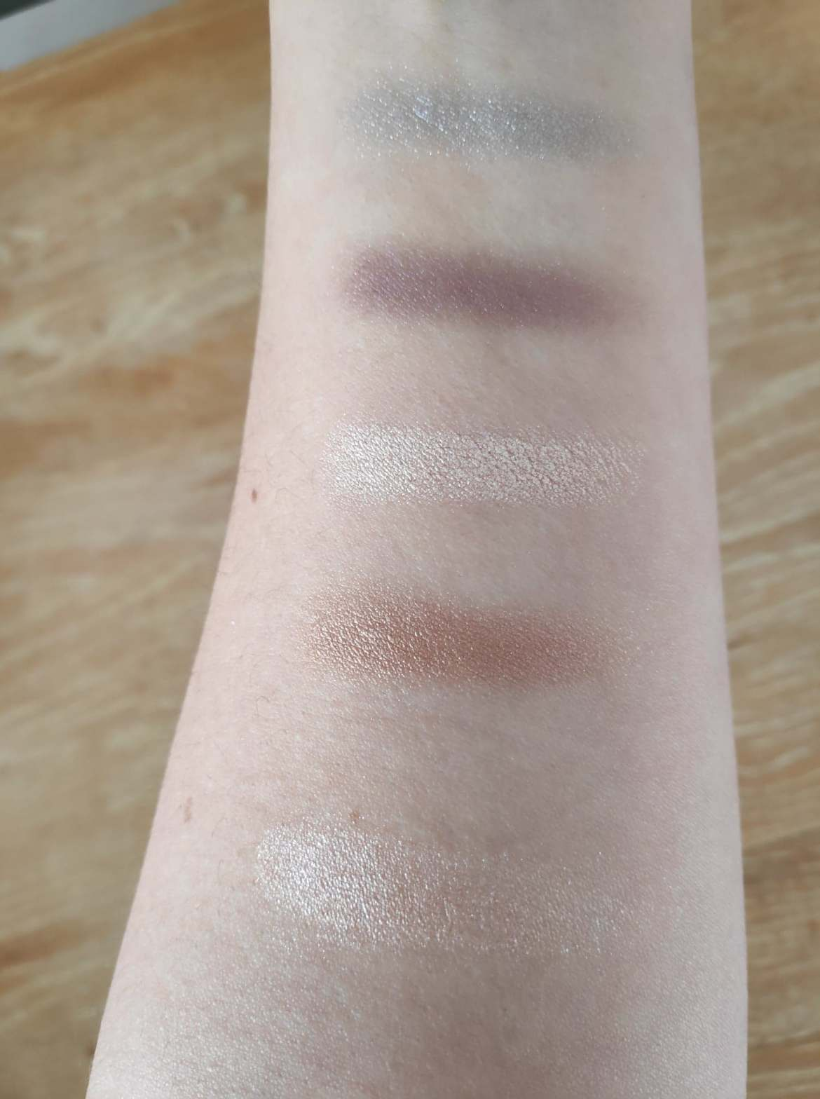 An eyeshadow swatch of colours from affirmation palette on forearm