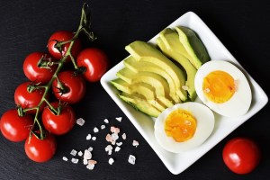 Keto food - eggs and avocado with tomatoes