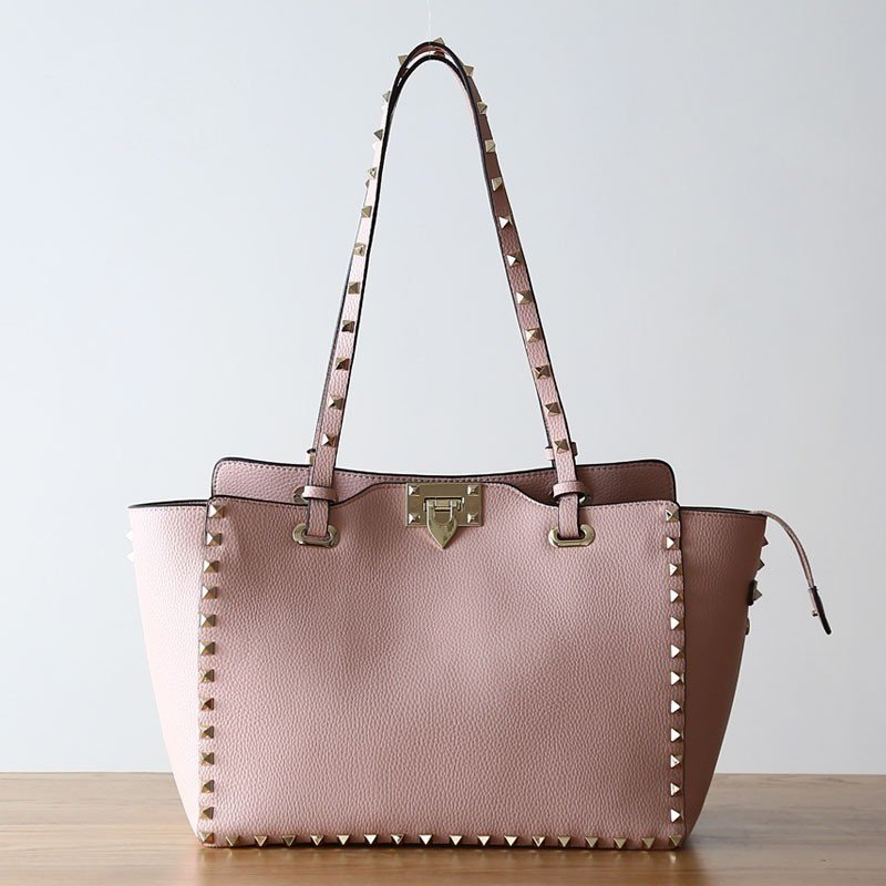 Pink Big Tote Bag with studs