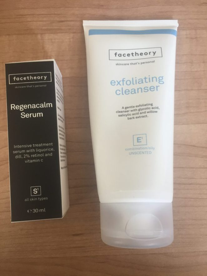 FACETHEORY GLYCOLIC CLEANSER AND RETINOL BOTTLES