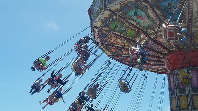 a kids fairground ride chairoplanes