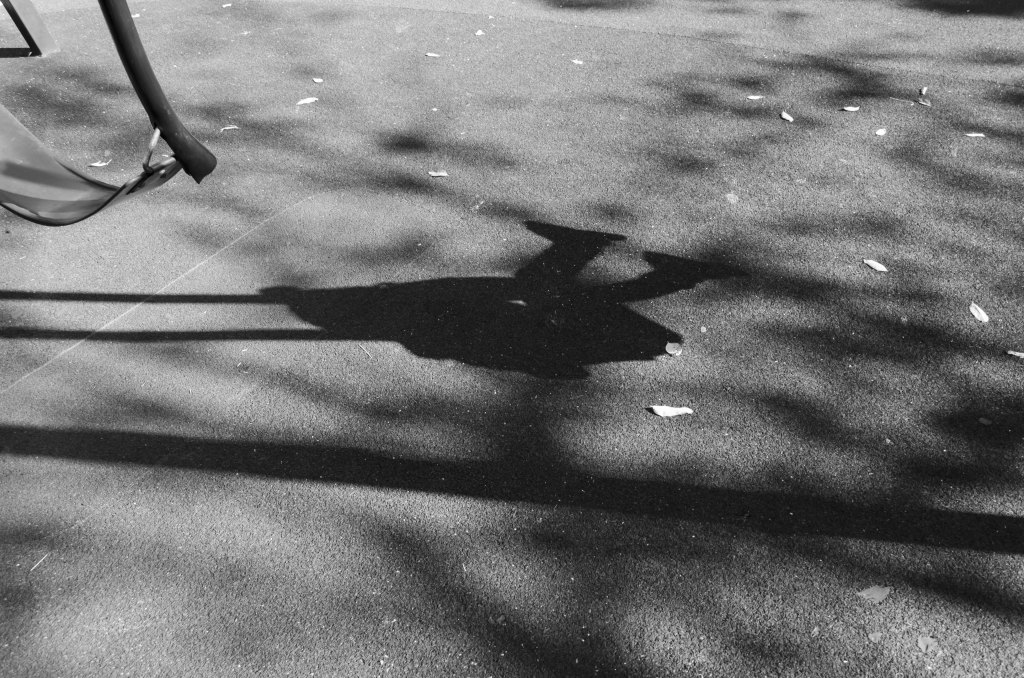 Gough Whitlam Park Swings, baby, swinging, shadow