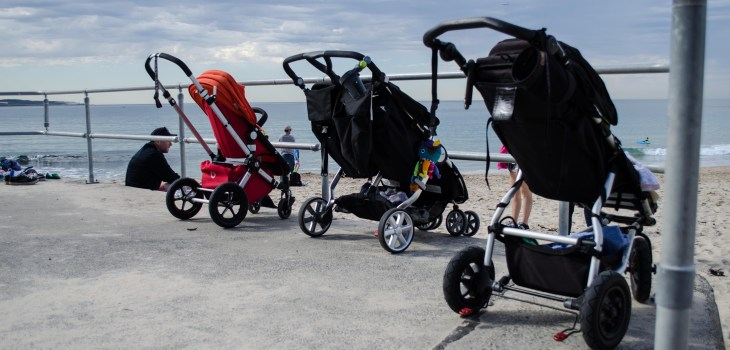 prams at Cronulla Beach, a little taste of Spring