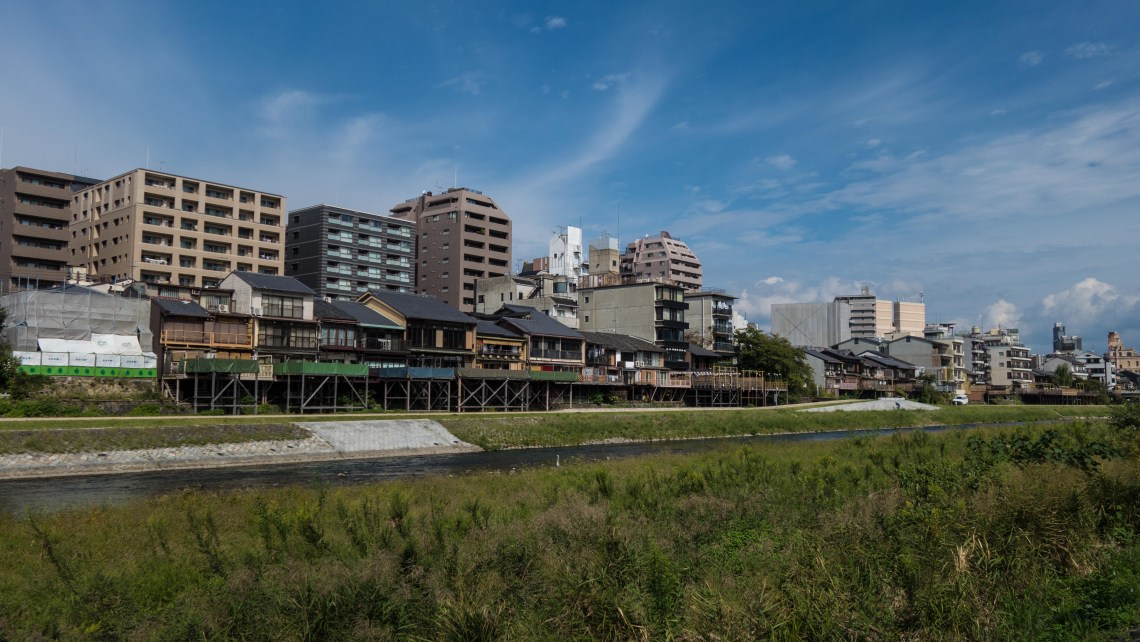 Wooden buildings Kyoto River