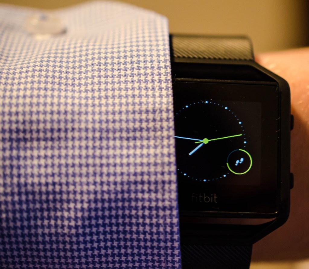 Fitbit Blaze under business shirt