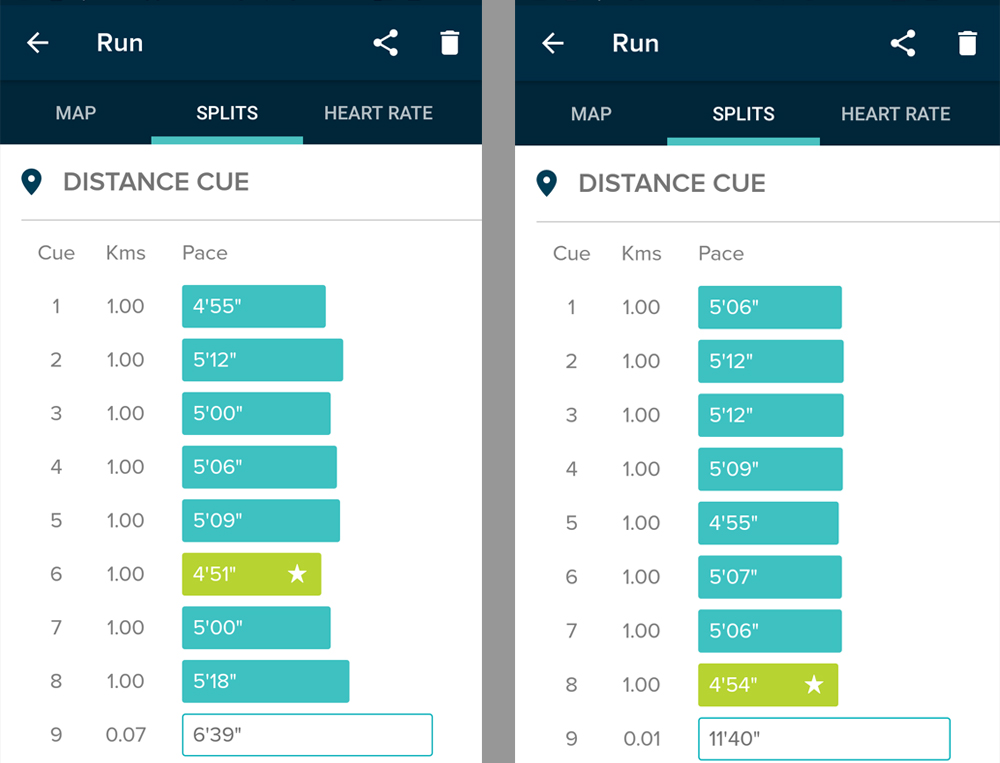 Comparison of Fitbit statistics from two runs
