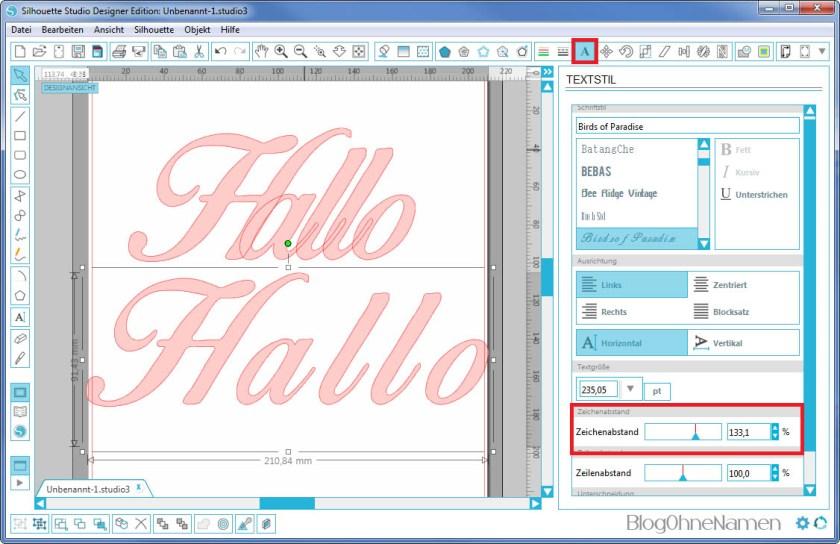 Plotter - Schriftarten - Wie man Buchstaben auseinander schiebt (3)
