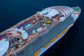 Harmony of the Seas, Aerial, Offshore Barcelona (Spain) June 6, 2016, starboard side, forward decks,