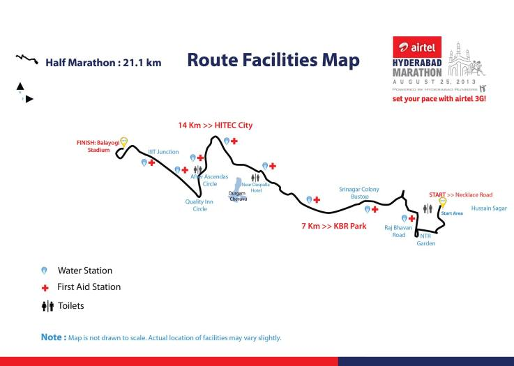 Route Map - Race Report - Airtel Hyderabad Marathon 2013