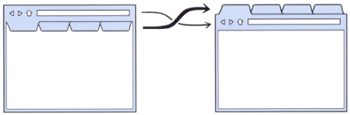 Vị tri của các tab được thay đổi so với các trình duyệt khác
