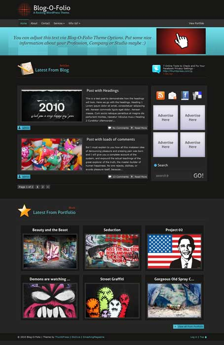 blogofolio free wordpress portfolio theme