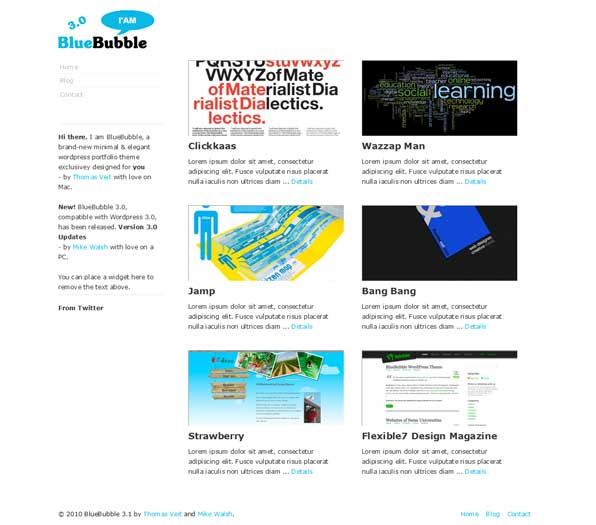bluebubble free wordpress prtfolio theme