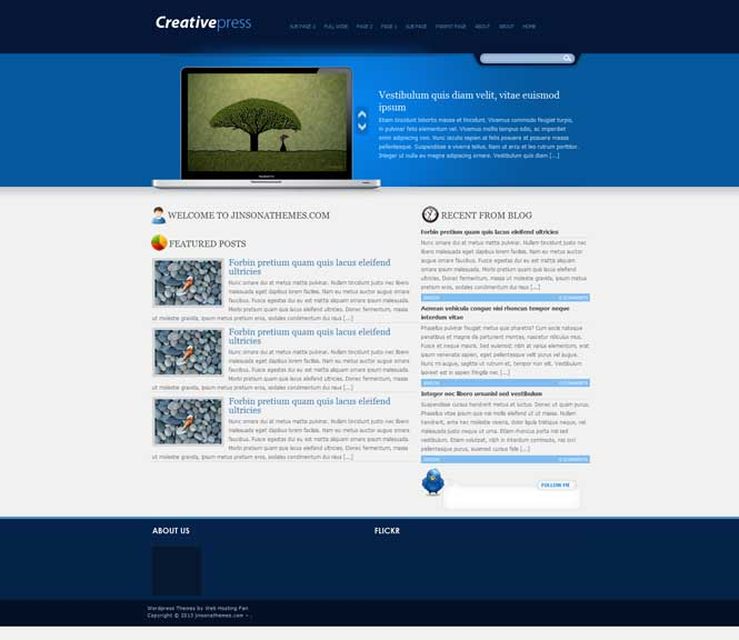 creativepress wordpress cms portolio theme free