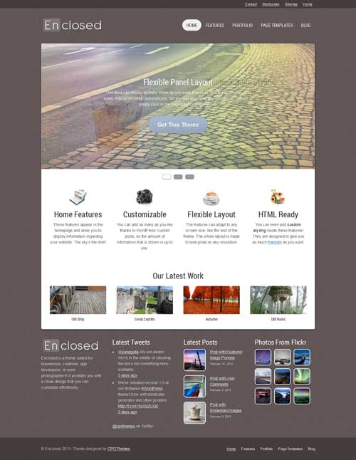 free wordpress theme enclosed
