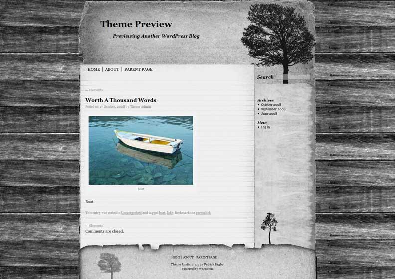 Rustic free portfolio theme