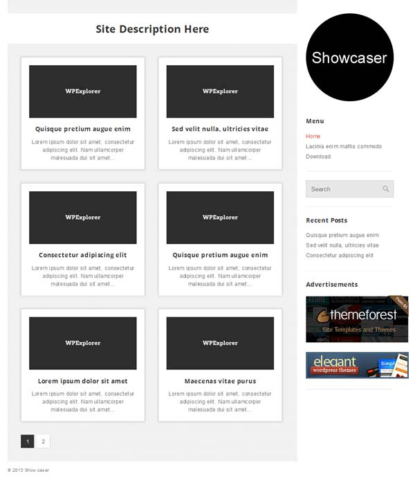showcaser wordoress theme