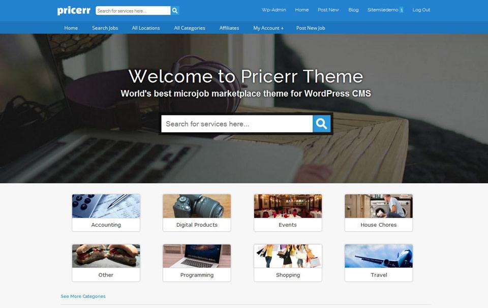 pricerr wordpress theme create fiverr like site