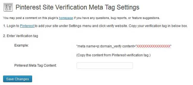 pinterest site verification meta tag wordpress
