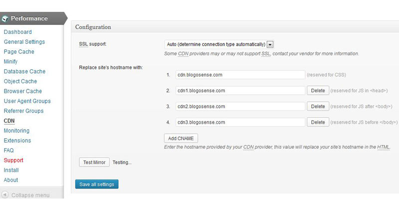 CDN settings WordPress Amazon