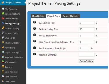 WordPress project theme pricing settings