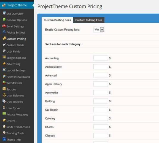 WordPress project theme custom posting fee