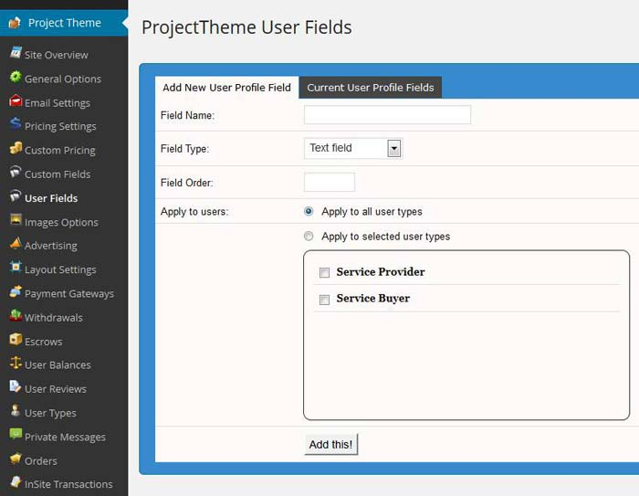 WordPress theme user fields