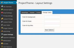 WordPress Project theme cololr settings 11d