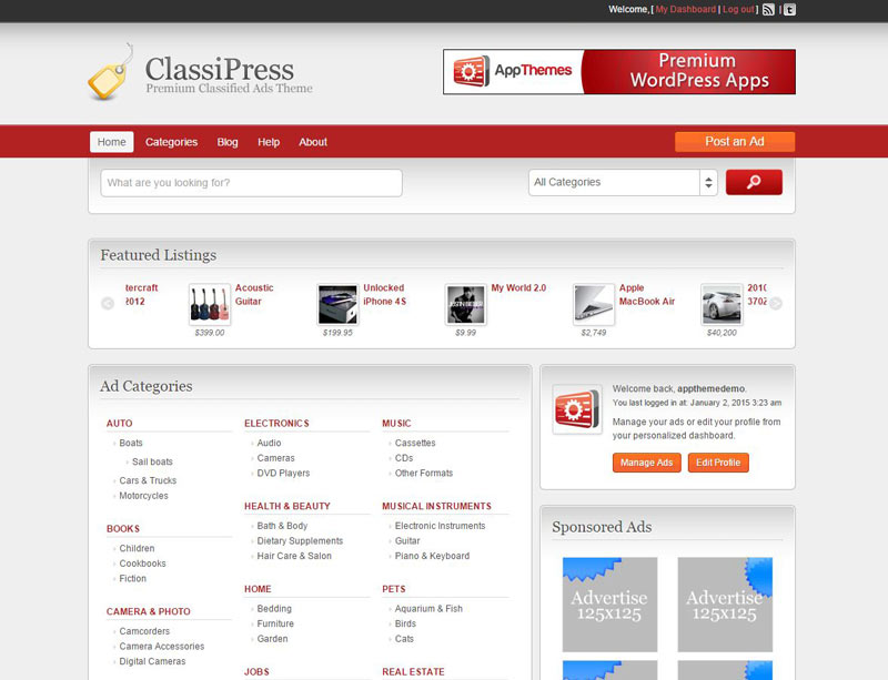 The ClassiPress WordPress classified theme