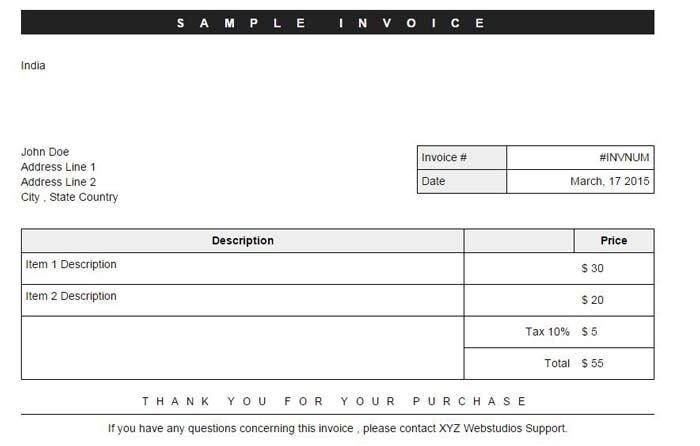 Sample generated Invoice