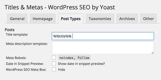 Yoast post types title settings