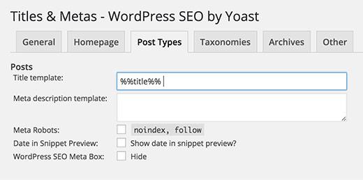 Yoast post types title settings