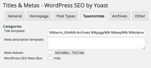Yoast Post Type title settings