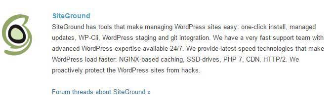 SiteGround WordPress recommendation