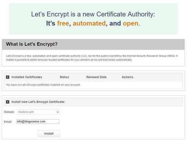 SiteGround let's encrypt free SSL certificate