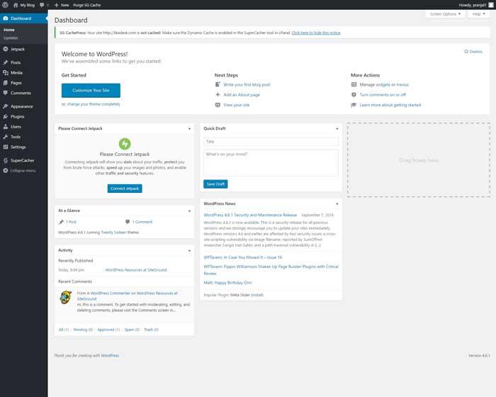 SiteGround default WordPress