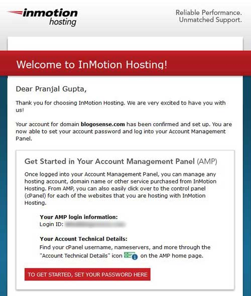 Inmotion hosting welcome email