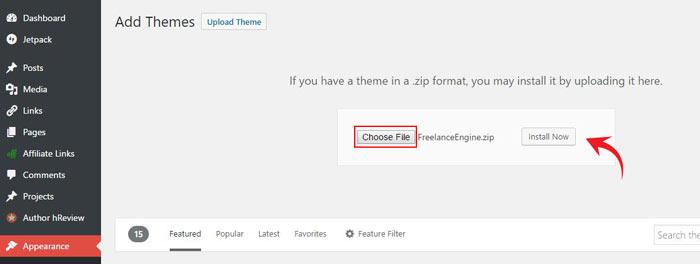 Installing FreelanceEngine theme