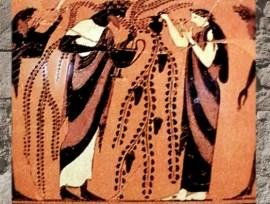 D'après Dionysos, céramique à figures noires, de Andokides, vers 530 avjc, période archaïque, Grèce Antique. (Marsailly/Blogostelle)