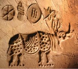 D'après un animal fantastique, sceau de Mohenjo-Daro, entre 2300 et 1800 avjc, civilisation de l'Indus. (Marsailly/Blogostelle)