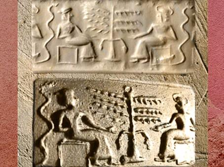 D'aprèsune adoratrice et son dieu, et Arbre Sacré,sceau sumérien (dit d'Adam et Ève au XIXe siècle), vers 2200 - 2100 avjc. (Marsailly/Blogostelle)