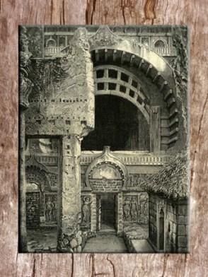 D'après un dessin ancien de l'entrée du temple de Karlî, porte et fenêtre, fin du Ier siècle apjc- IIe siècle apjc, Mahârâsthra, Inde du Sud. (Marsailly/Blogostelle)